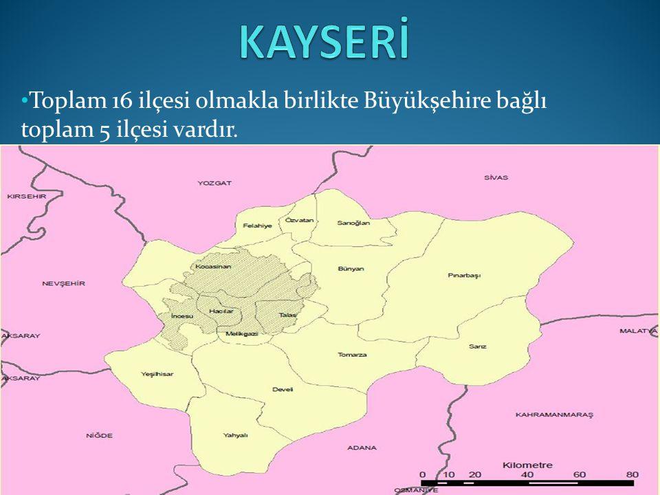 KAYSERİ Toplam 16 ilçesi olmakla birlikte Büyükşehire bağlı toplam 5 ilçesi vardır.