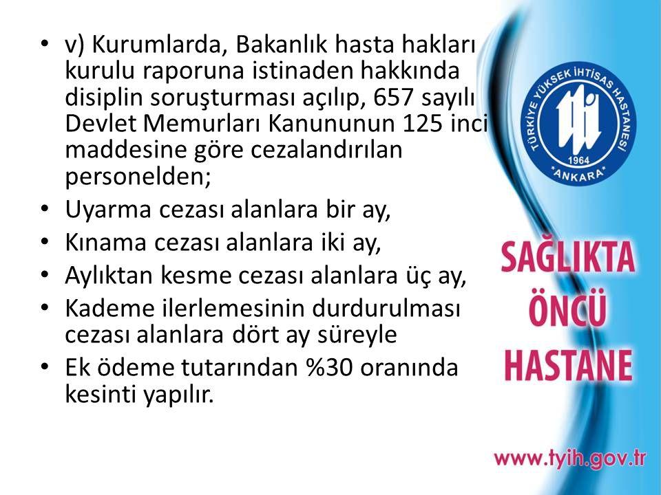 v) Kurumlarda, Bakanlık hasta hakları kurulu raporuna istinaden hakkında disiplin soruşturması açılıp, 657 sayılı Devlet Memurları Kanununun 125 inci maddesine göre cezalandırılan personelden;