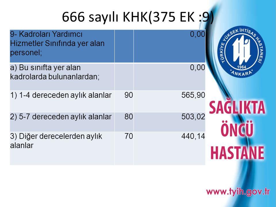 666 sayılı KHK(375 EK :9) 9- Kadroları Yardımcı Hizmetler Sınıfında yer alan personel; 0,00. a) Bu sınıfta yer alan kadrolarda bulunanlardan;