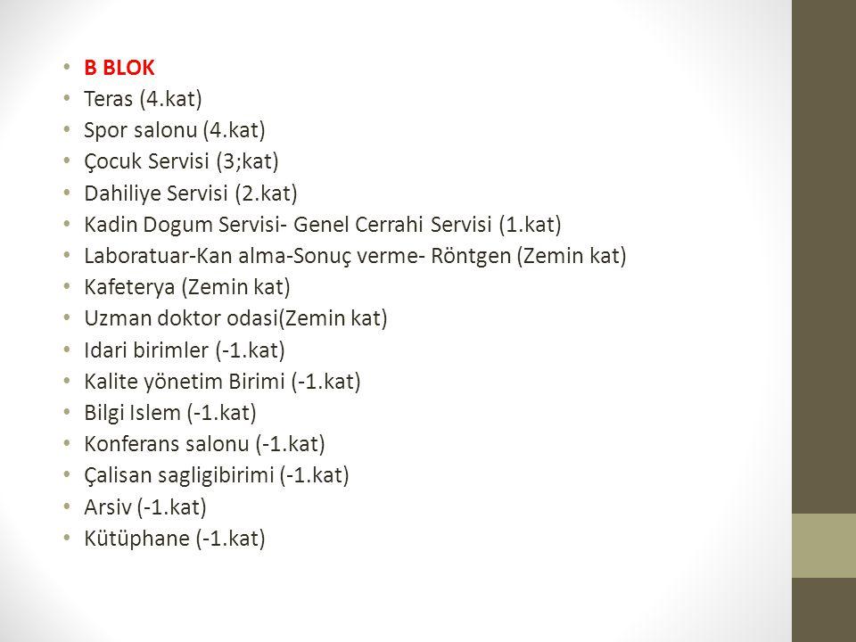 B BLOK Teras (4.kat) Spor salonu (4.kat) Çocuk Servisi (3;kat) Dahiliye Servisi (2.kat) Kadin Dogum Servisi- Genel Cerrahi Servisi (1.kat)