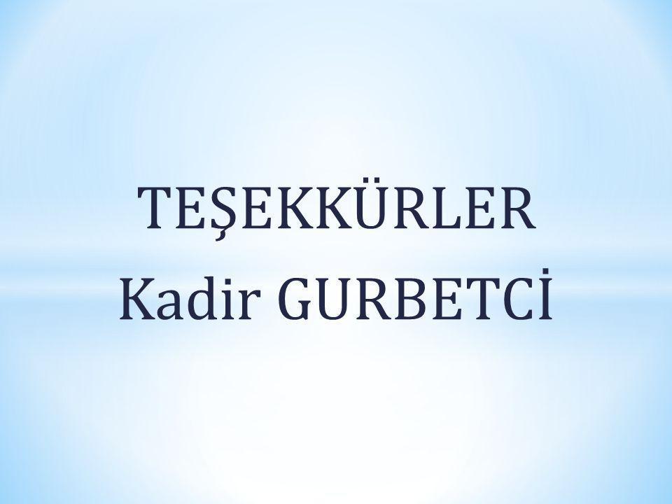 TEŞEKKÜRLER Kadir GURBETCİ