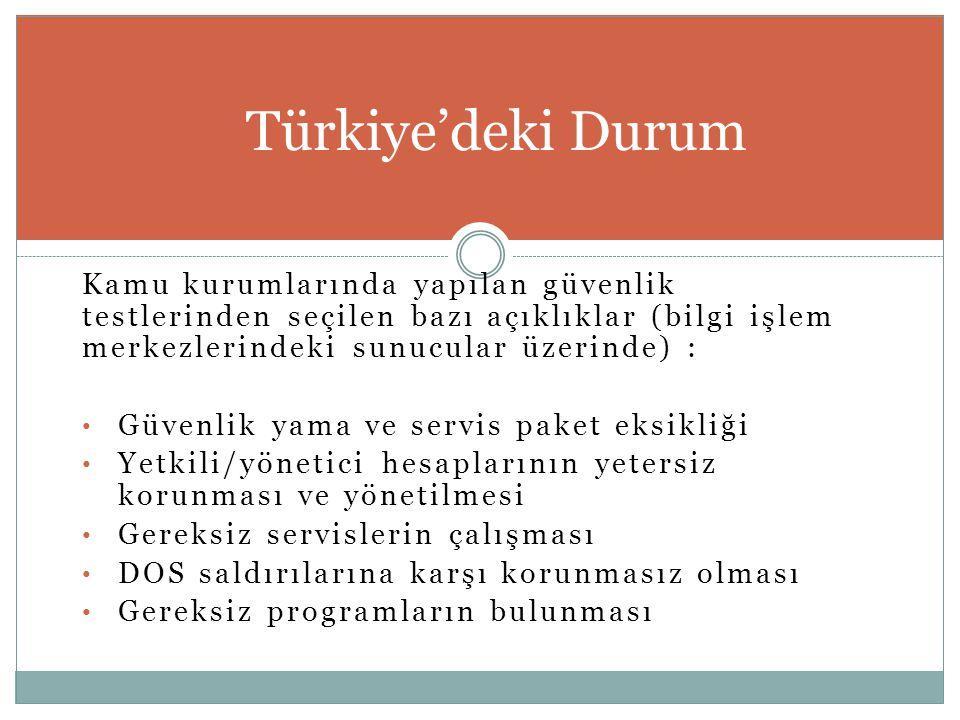 Türkiye'deki Durum Kamu kurumlarında yapılan güvenlik testlerinden seçilen bazı açıklıklar (bilgi işlem merkezlerindeki sunucular üzerinde) :