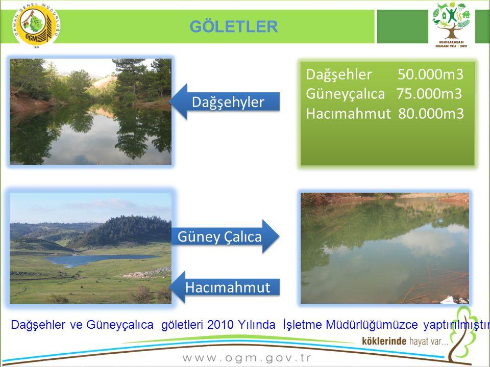 GÖLETLER Dağşehler 50.000m3 Güneyçalıca 75.000m3 Hacımahmut 80.000m3