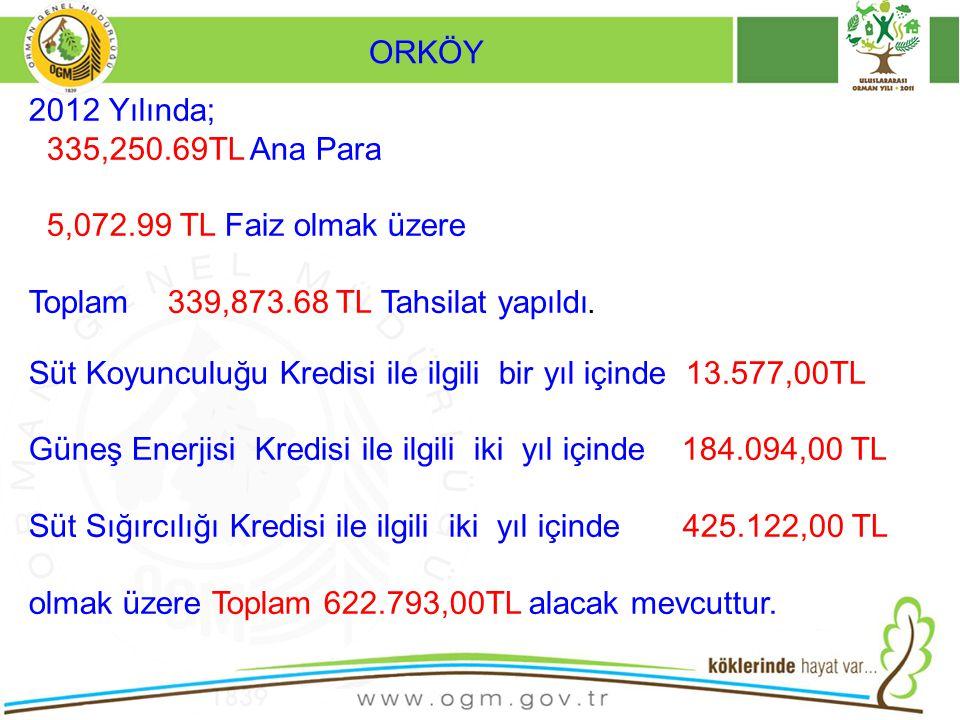 ORKÖY 2012 Yılında; 335,250.69TL Ana Para. 5,072.99 TL Faiz olmak üzere. Toplam 339,873.68 TL Tahsilat yapıldı.