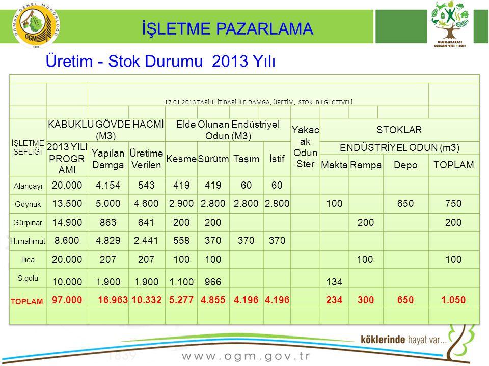 Üretim - Stok Durumu 2013 Yılı