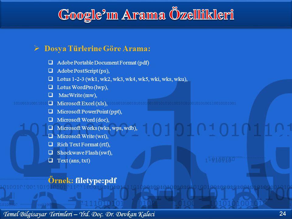 Google'ın Arama Özellikleri