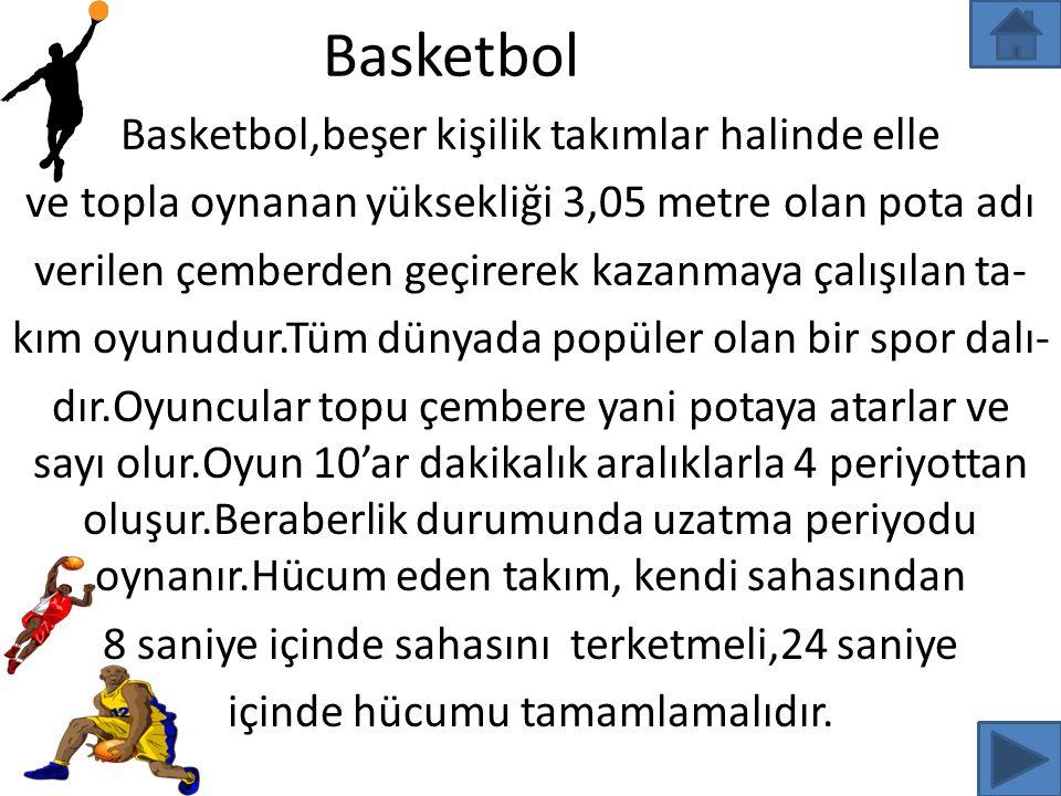 Basketbol Basketbol,beşer kişilik takımlar halinde elle