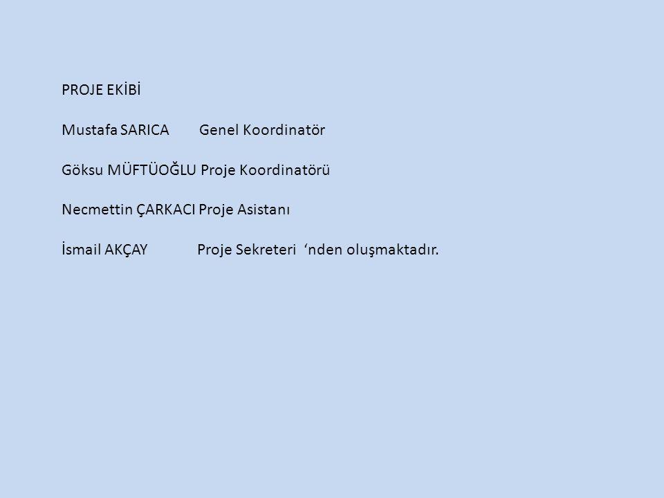 PROJE EKİBİ Mustafa SARICA Genel Koordinatör. Göksu MÜFTÜOĞLU Proje Koordinatörü. Necmettin ÇARKACI Proje Asistanı.