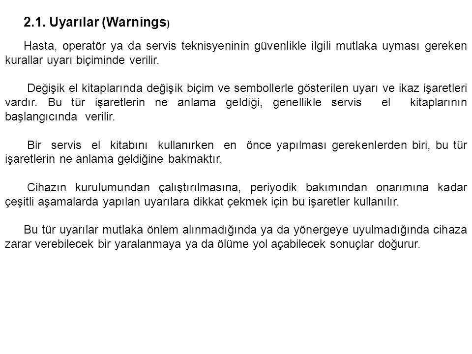 2.1. Uyarılar (Warnings) Hasta, operatör ya da servis teknisyeninin güvenlikle ilgili mutlaka uyması gereken kurallar uyarı biçiminde verilir.