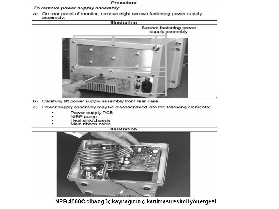 NPB 4000C cihaz güç kaynağının çıkarılması resimli yönergesi