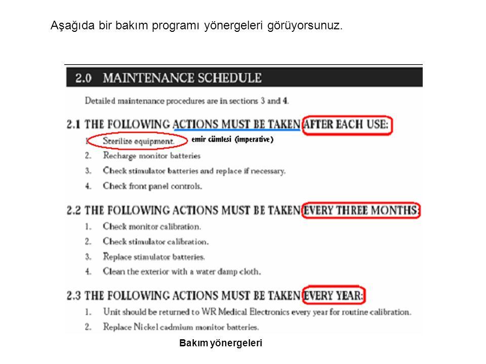 Aşağıda bir bakım programı yönergeleri görüyorsunuz.