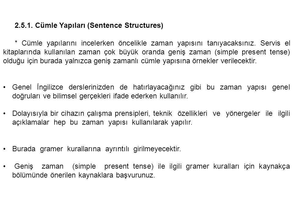 2.5.1. Cümle Yapıları (Sentence Structures)