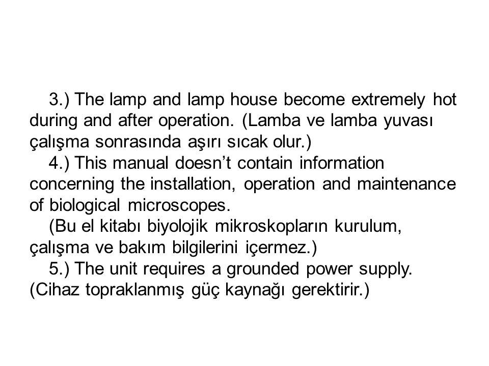 3.) The lamp and lamp house become extremely hot during and after operation. (Lamba ve lamba yuvası çalışma sonrasında aşırı sıcak olur.)
