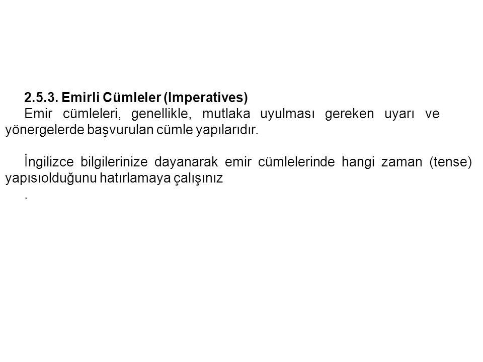2.5.3. Emirli Cümleler (Imperatives)