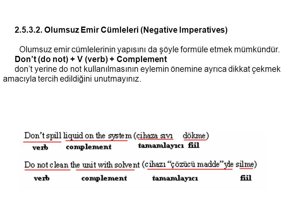 2.5.3.2. Olumsuz Emir Cümleleri (Negative Imperatives)