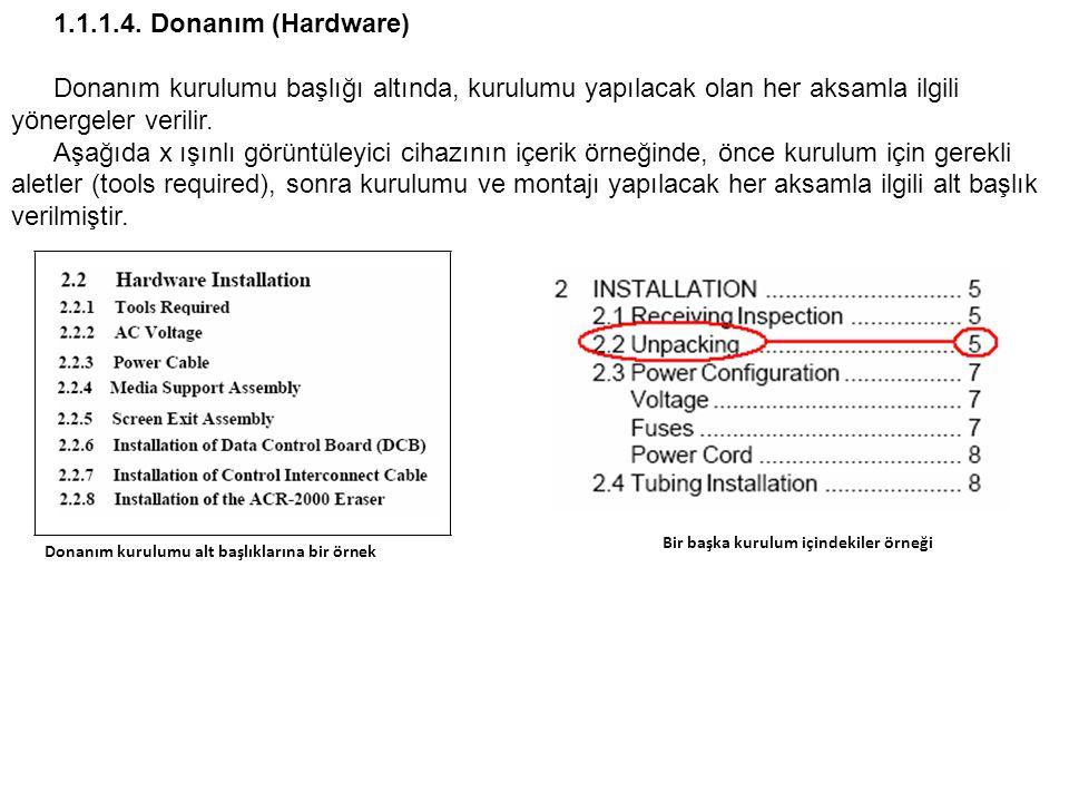 1.1.1.4. Donanım (Hardware) Donanım kurulumu başlığı altında, kurulumu yapılacak olan her aksamla ilgili yönergeler verilir.