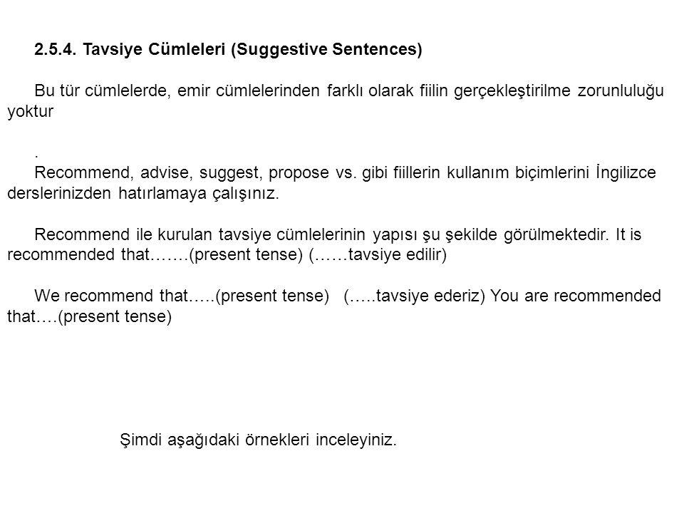 2.5.4. Tavsiye Cümleleri (Suggestive Sentences)