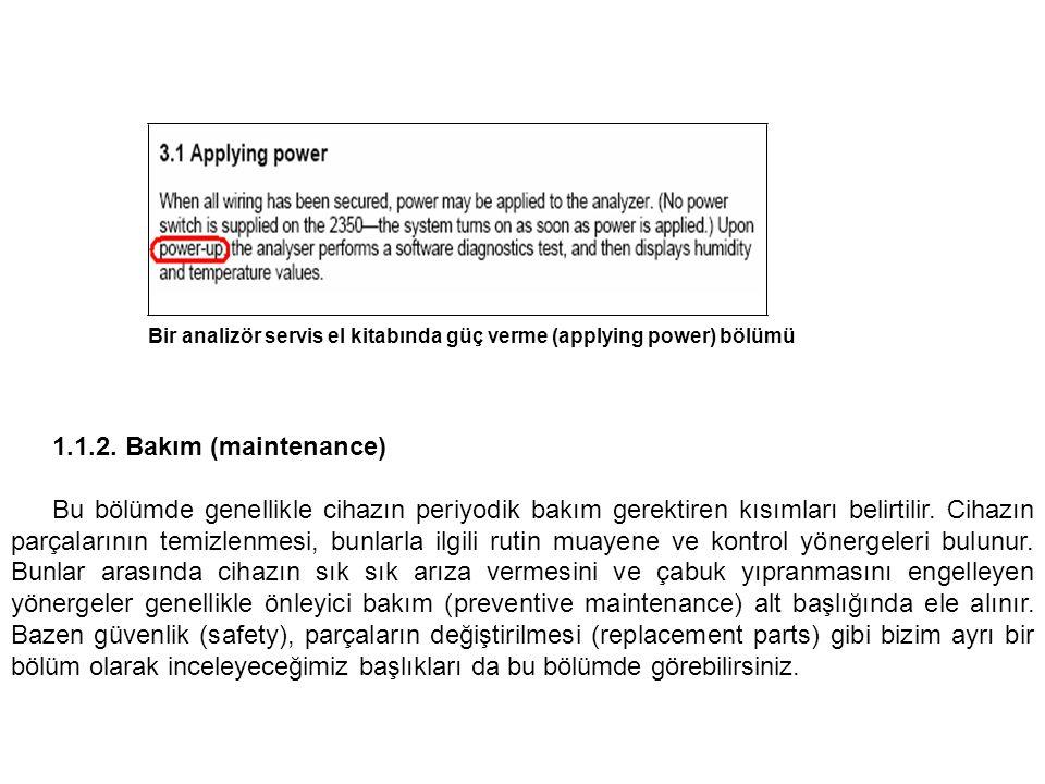 Bir analizör servis el kitabında güç verme (applying power) bölümü