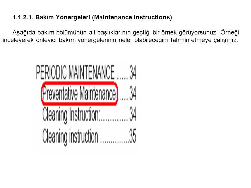 1.1.2.1. Bakım Yönergeleri (Maintenance Instructions)