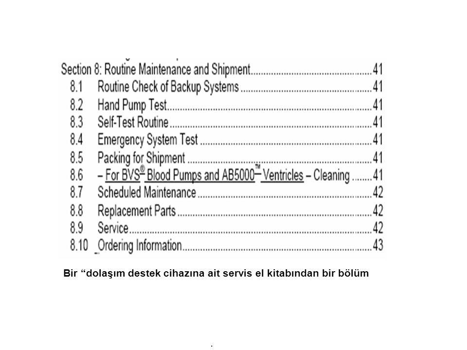 Bir dolaşım destek cihazına ait servis el kitabından bir bölüm