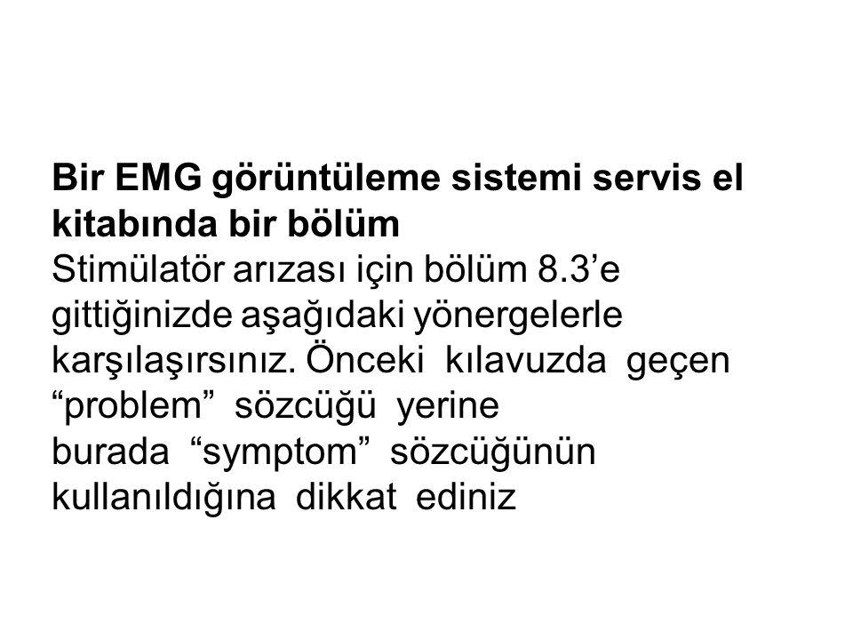Bir EMG görüntüleme sistemi servis el kitabında bir bölüm