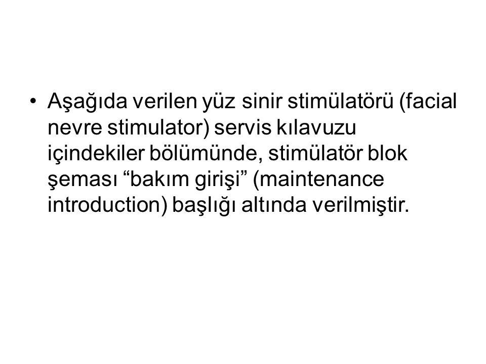 Aşağıda verilen yüz sinir stimülatörü (facial nevre stimulator) servis kılavuzu içindekiler bölümünde, stimülatör blok şeması bakım girişi (maintenance introduction) başlığı altında verilmiştir.