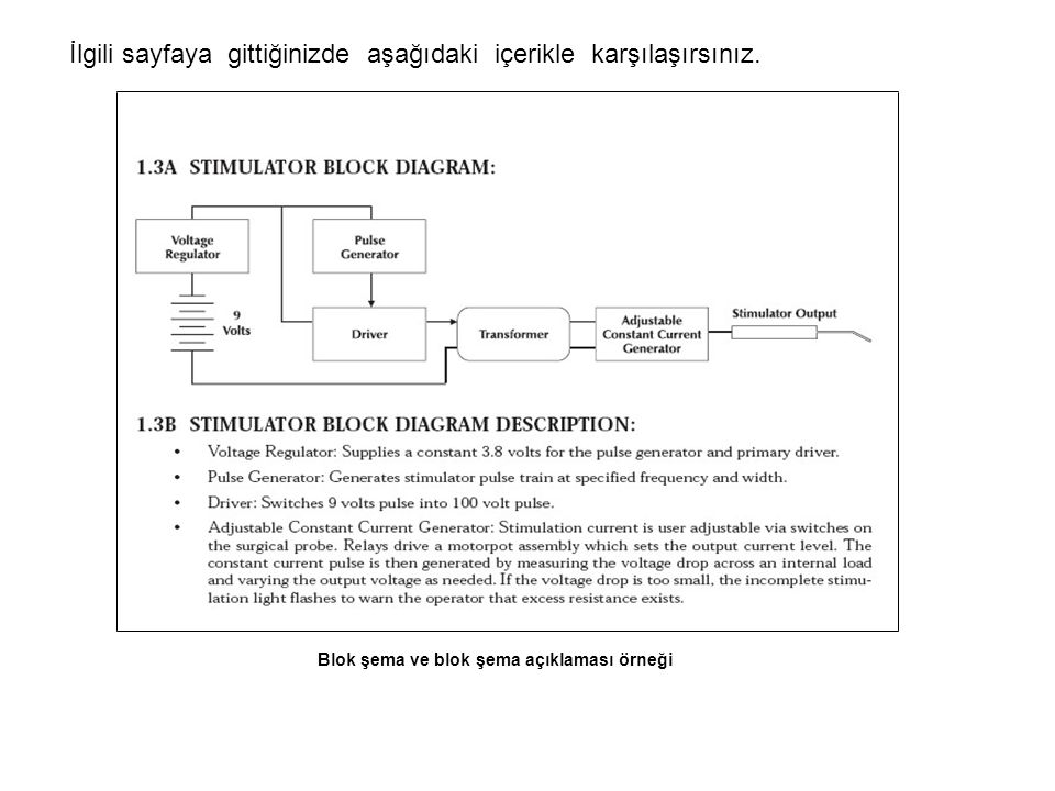 Blok şema ve blok şema açıklaması örneği