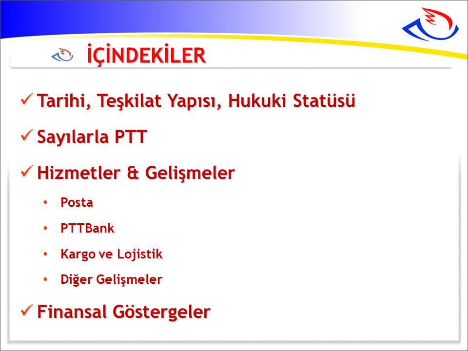 İÇİNDEKİLER Tarihi, Teşkilat Yapısı, Hukuki Statüsü Sayılarla PTT