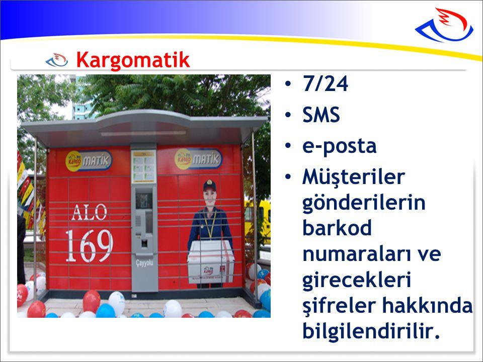 Kargomatik 7/24. SMS. e-posta.