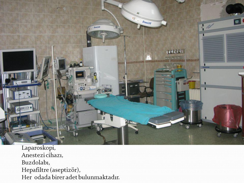 Laparoskopi, Anestezi cihazı, Buzdolabı, Hepafiltre (aseptizör), Her odada birer adet bulunmaktadır.