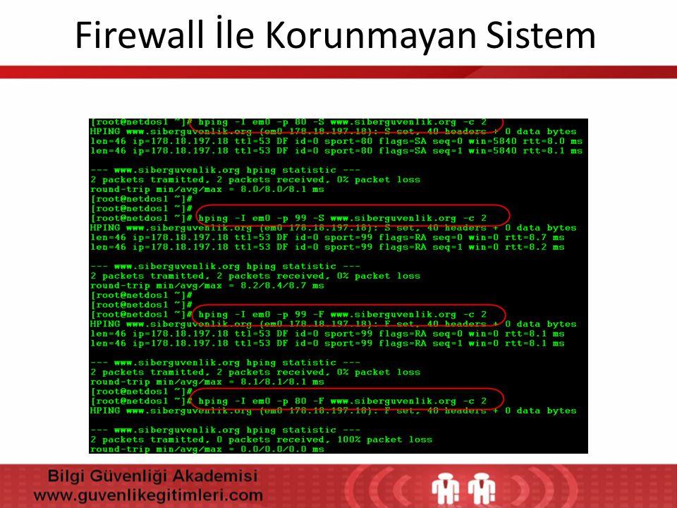 Firewall İle Korunmayan Sistem
