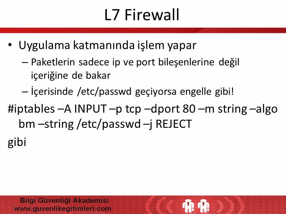 L7 Firewall Uygulama katmanında işlem yapar