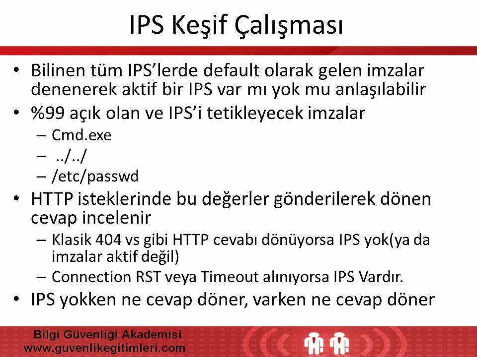 IPS Keşif Çalışması Bilinen tüm IPS'lerde default olarak gelen imzalar denenerek aktif bir IPS var mı yok mu anlaşılabilir.