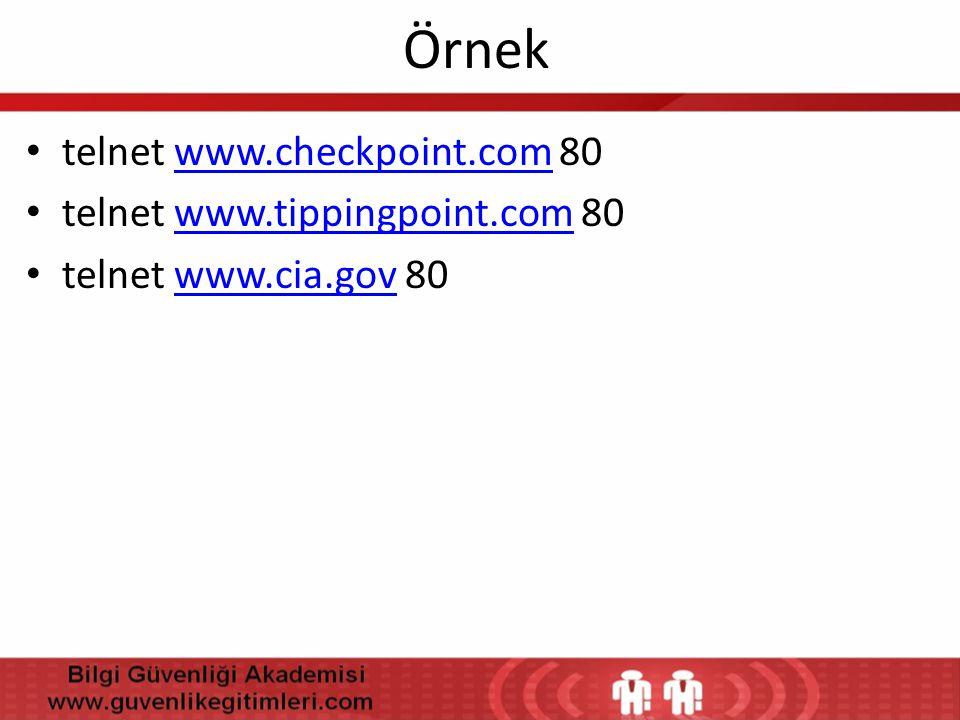Örnek telnet www.checkpoint.com 80 telnet www.tippingpoint.com 80