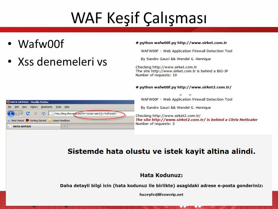 WAF Keşif Çalışması Wafw00f Xss denemeleri vs