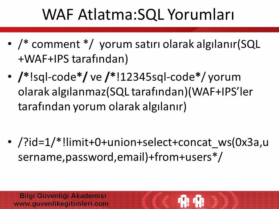 WAF Atlatma:SQL Yorumları
