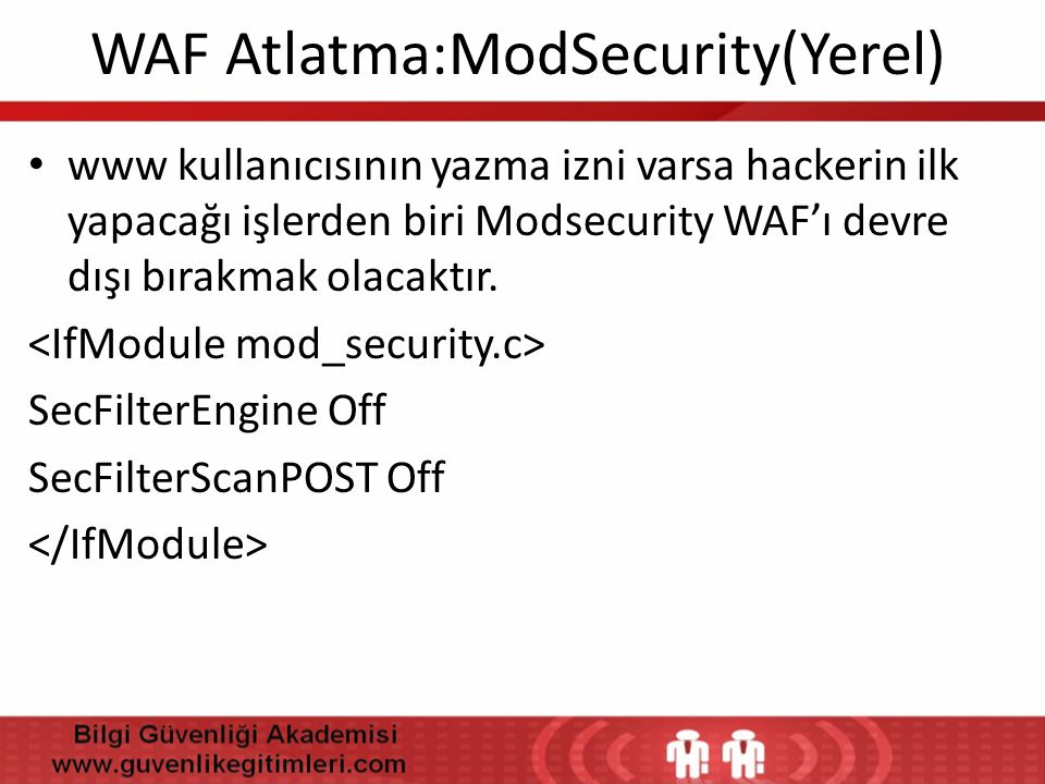 WAF Atlatma:ModSecurity(Yerel)