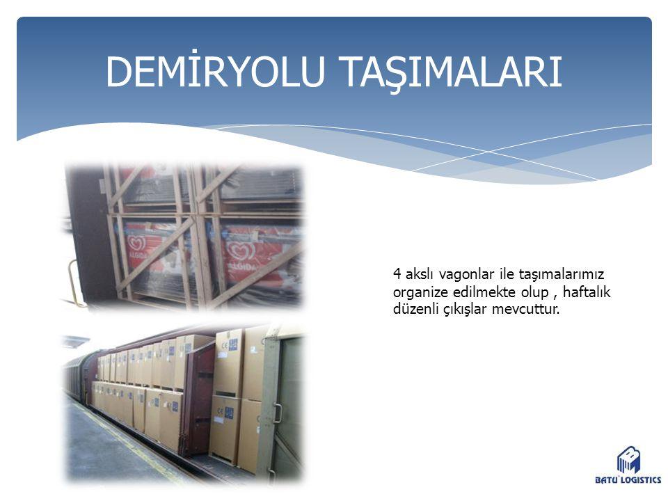 DEMİRYOLU TAŞIMALARI 4 akslı vagonlar ile taşımalarımız organize edilmekte olup , haftalık düzenli çıkışlar mevcuttur.