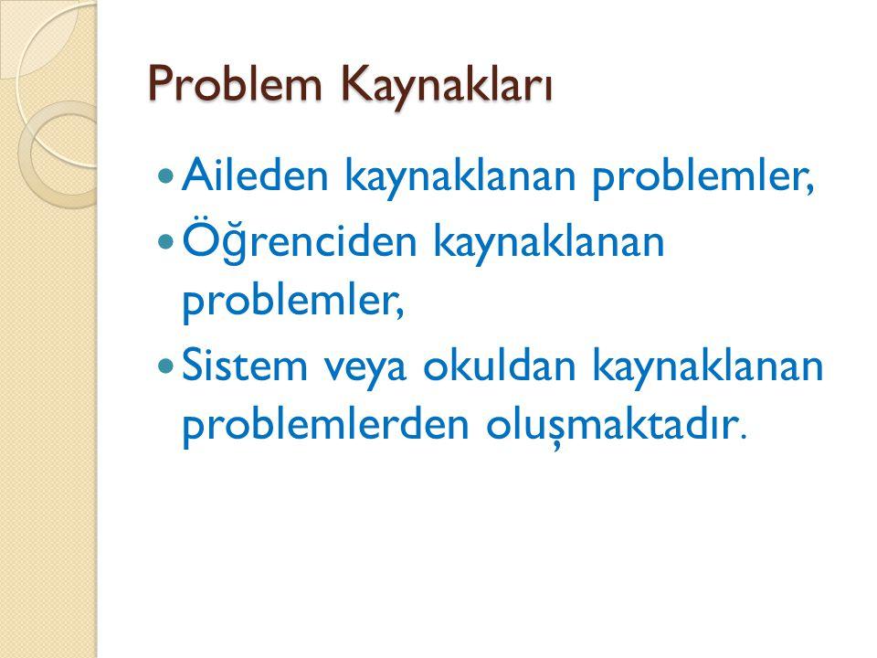 Problem Kaynakları Aileden kaynaklanan problemler,