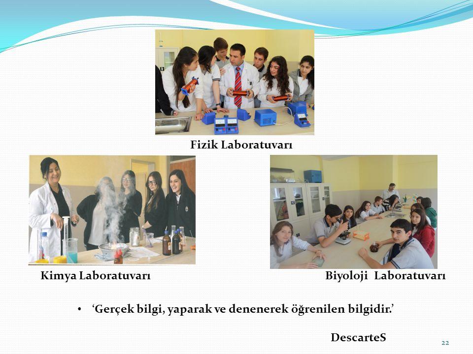 Fizik Laboratuvarı. Kimya Laboratuvarı. Biyoloji Laboratuvarı. 'Gerçek bilgi, yaparak ve denenerek öğrenilen bilgidir.'