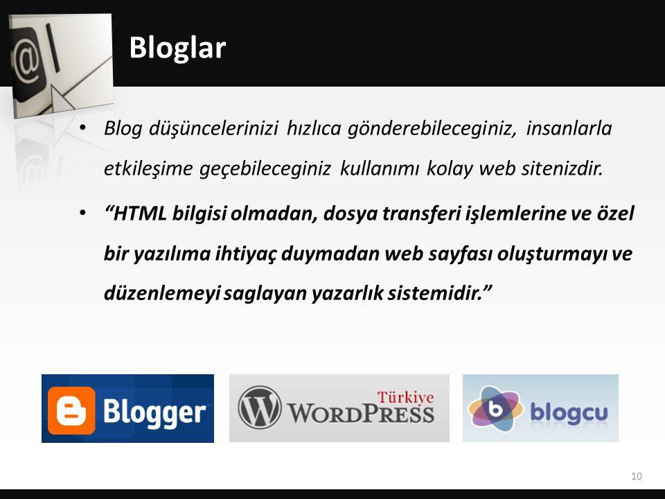 Bloglar Blog düşüncelerinizi hızlıca gönderebileceginiz, insanlarla etkileşime geçebileceginiz kullanımı kolay web sitenizdir.