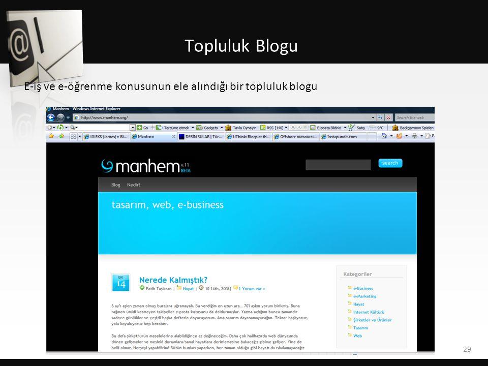 Topluluk Blogu E-iş ve e-öğrenme konusunun ele alındığı bir topluluk blogu