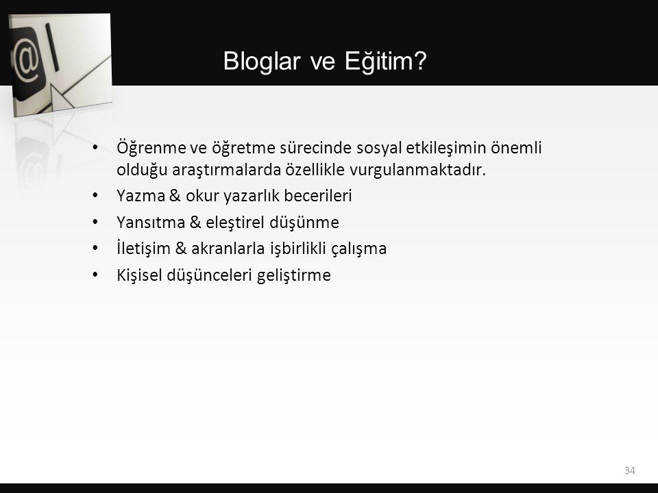 Bloglar ve Eğitim Öğrenme ve öğretme sürecinde sosyal etkileşimin önemli olduğu araştırmalarda özellikle vurgulanmaktadır.