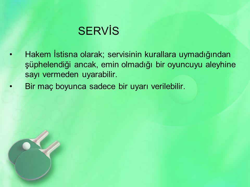 SERVİS Hakem İstisna olarak; servisinin kurallara uymadığından şüphelendiği ancak, emin olmadığı bir oyuncuyu aleyhine sayı vermeden uyarabilir.