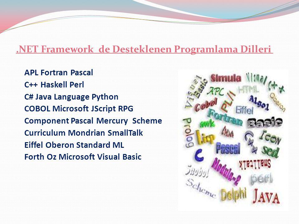 .NET Framework de Desteklenen Programlama Dilleri
