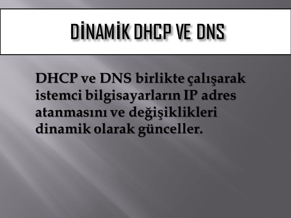 DİNAMİK DHCP VE DNS DHCP ve DNS birlikte çalışarak istemci bilgisayarların IP adres atanmasını ve değişiklikleri dinamik olarak günceller.