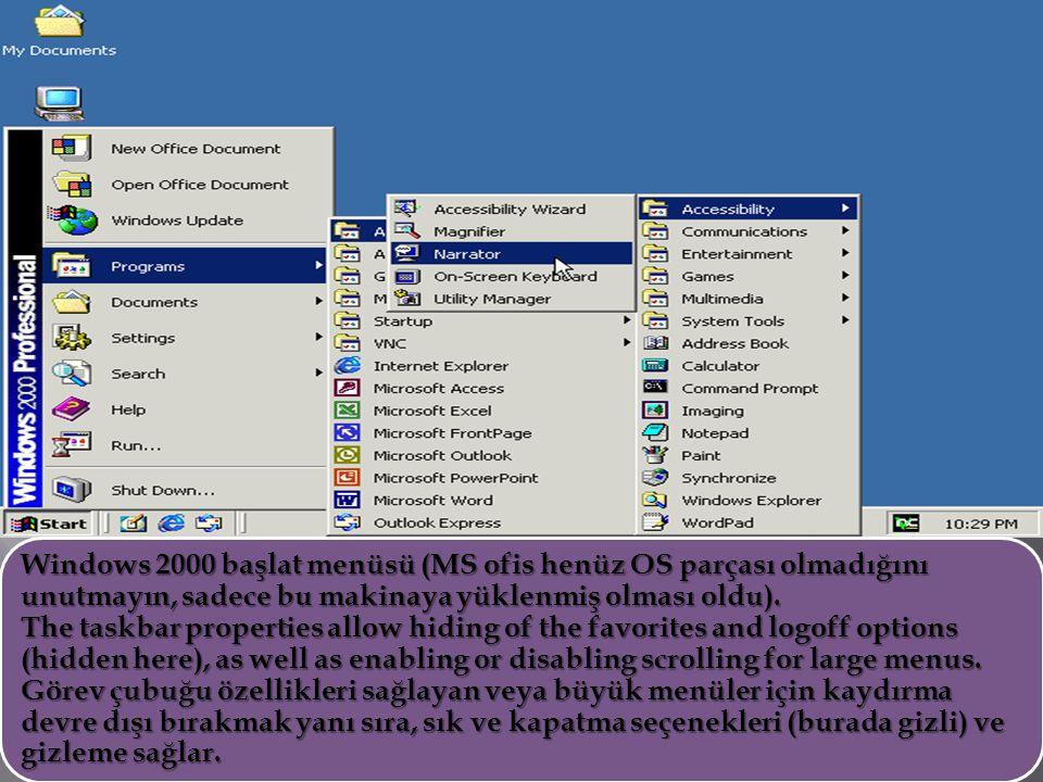 Windows 2000 başlat menüsü (MS ofis henüz OS parçası olmadığını unutmayın, sadece bu makinaya yüklenmiş olması oldu).
