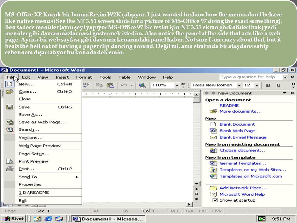 MS-Office XP Küçük bir bonus Resim W2K çalışıyor