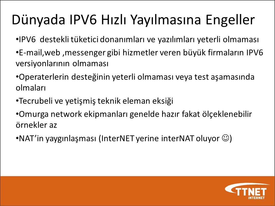 Dünyada IPV6 Hızlı Yayılmasına Engeller