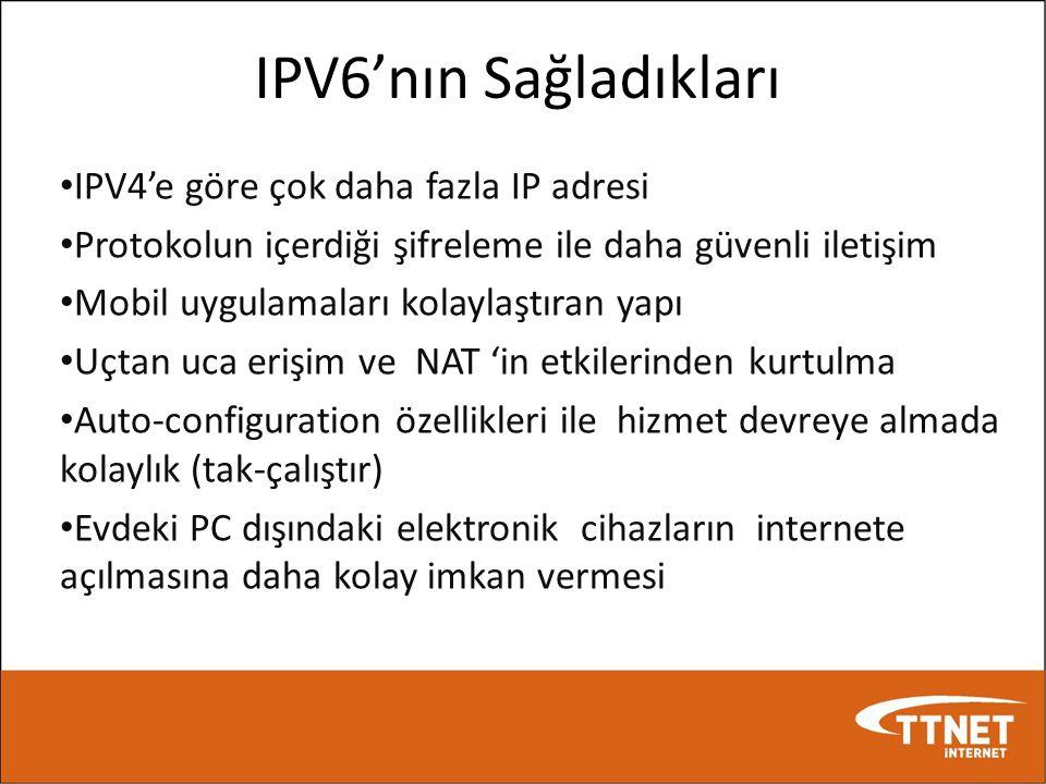 IPV6'nın Sağladıkları IPV4'e göre çok daha fazla IP adresi